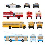 City cars, transport: fire service, school bus, rescue service, police. Set of urban transport. City cars, vehicles transport: fire service, school bus machine Stock Images