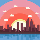 City cartoon vector background illustration view wallpaper Royalty Free Stock Images