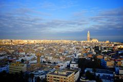City of casablanca. Aerial view of the city of casablanca during sunrise Royalty Free Stock Photo