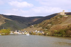 City and the castle of  Bernkastel-Kues on the river Mosel in Germany Stock Photo
