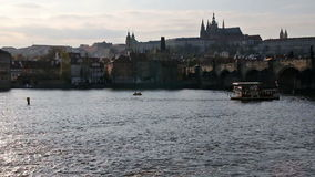 City castle and river during sunset stock video footage