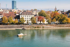City and Cathedral Ferry in Basel, Switzerland royalty free stock photos