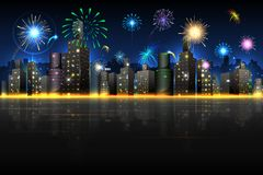 City in Celebration. Illustration of firework in night view of city Royalty Free Stock Images