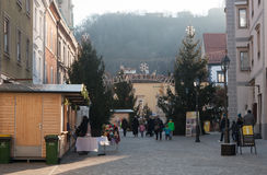 City Celje in Christmas time. Christmas time with Christmas market and fairy land in city Celje in Slovenia. People walking and enjoying the Christmas spirit Royalty Free Stock Photography