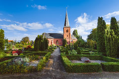 City Cemetery and Catholic Church in Dragor, Denmark. royalty free stock photos