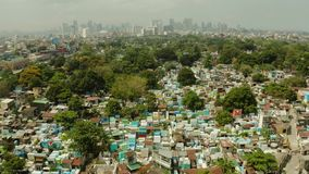 City cemetery in Manila, view from above. Old cemetery with residential buildings. City of Manila, in sunny weather. City cemetery in Manila, view from above stock footage