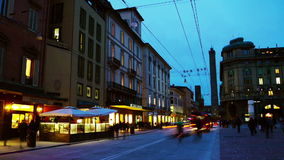 City center in Bologna, Italy at night stock footage