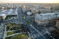 City-center-bucharest. Meeting in Bucharest seen from above at zero km , the capital of Romania royalty free stock photo