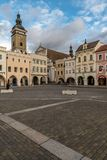 The city center of Budweis at a cloudy day royalty free stock photography