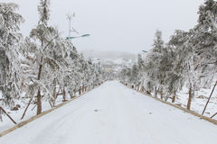City center covered with snow in Da Shan Bao Yunnan Stock Images