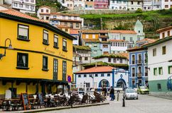 City center of Cudillero, Asturias. Colorful buildings in a very royalty free stock photography