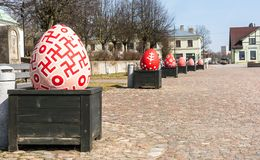 Dobele city center decoration with easter eggs royalty free stock photo