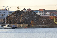 City center docks, Galway , Ireland june 2017, Big scrap heap in. The port Stock Images