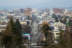 City center at february 28, 2014 in Fukushima, Japan Royalty Free Stock Photos