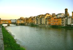 City center of Florence with bridges over the river , Italy Royalty Free Stock Image