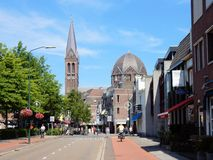 City center Geldrop with Roman Catholic church Royalty Free Stock Image