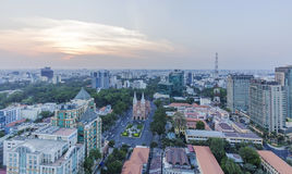 City center. Of  Ho Chi Minh city in the nightfall. Ho Chi Minh City has the most dynamic economy in Vietnam.nPhoto taken on: 01 May 2016 Royalty Free Stock Photo