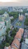 City center. Of  Ho Chi Minh city, the nightfall. Ho Chi Minh City has the most dynamic economy in Vietnam Stock Photos