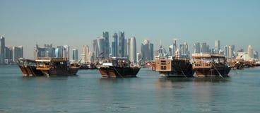 City center and junks, Doha, Qatar Royalty Free Stock Image