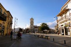 City center of Larnaca. View towards Saint Lazarus Church. Larnaca, CYPRUS - January 2 2018: City center of Larnaca. View to Saint Lazarus Church, a remarkable royalty free stock photography