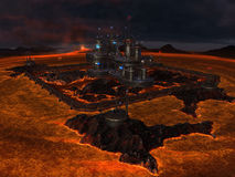City in center of lava lake. Illustration of futuristic city in center of volcanic lava lake royalty free stock photos
