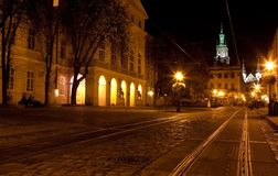 City center in Lviv at night Royalty Free Stock Photo
