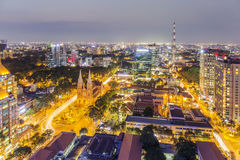 City center in the night. Ho Chi Minh city. Ho Chi Minh City has the most dynamic economy in Vietnam Royalty Free Stock Photos