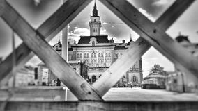 City center of Novi Sad, Serbia. City of Exit festival, black and white Royalty Free Stock Images