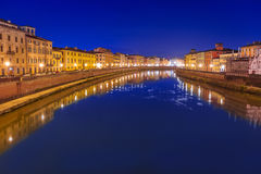City center of Pisa, Italy. City center of Pisa with reflection in Arno river, Italy Royalty Free Stock Photo