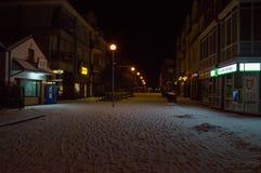 City center of Pruszcz Gdanski at night in winter time. Pruszcz Gdanski, Poland - February 5, 2018: City center of Pruszcz Gdanski at night in winter time Royalty Free Stock Image