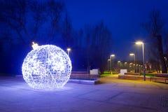 City center of Pruszcz Gdanski, Poland. City center of Pruszcz Gdanski with Christmas baubles, Poland Stock Photo
