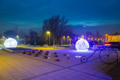 City center of Pruszcz Gdanski, Poland. City center of Pruszcz Gdanski with Christmas baubles, Poland Royalty Free Stock Images