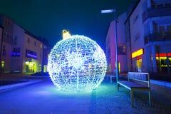 City center of Pruszcz Gdanski, Poland. City center of Pruszcz Gdanski with Christmas baubles, Poland Royalty Free Stock Photo
