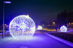 City center of Pruszcz Gdanski, Poland. City center of Pruszcz Gdanski with Christmas baubles, Poland Stock Photos