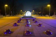City center of Pruszcz Gdanski, Poland. City center of Pruszcz Gdanski with Christmas baubles, Poland Stock Image