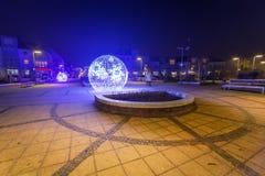 City center of Pruszcz Gdanski, Poland. City center of Pruszcz Gdanski with Christmas baubles, Poland Royalty Free Stock Image