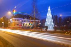 City center of Pruszcz Gdanski, Poland. City center of Pruszcz Gdanski with Christmas tree, Poland Royalty Free Stock Photo