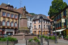 The city center of Ribeauvillé. Wine road of Alsace. Eastern France. Alsace region. A beautiful village named Ribeauville on the famose Wine road. It has many Royalty Free Stock Images