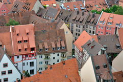 City center roofs,  nurnberg. Aerial view of old shingle roofs in city center Royalty Free Stock Image
