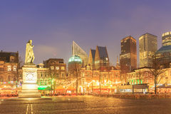 City center square of the Dutch town The Hague at night Royalty Free Stock Photo