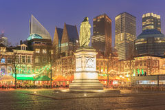 City center square of the Dutch town The Hague at night Stock Image