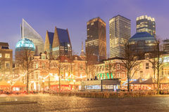 City center square of the Dutch town The Hague at night Royalty Free Stock Image