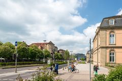 The city center of Stuttgart with the old (left) and new castle (right) and the new art museum in the middle Royalty Free Stock Image