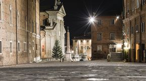 Urbino Italy, night view. City center of Urbino Marche Italy. This is a small village founded during the renaissance period. This is  the main square, Piazza Stock Photos