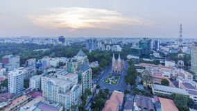 City center. View of  Ho Chi Minh city from top of the building. Ho Chi Minh City has the most dynamic economy in Vietnam Stock Photos