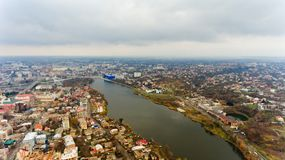 The city center of Vinnytsia, Ukraine. Aerial view Stock Photo