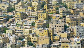 The city centre of Amman in Jordan. The messy architecture of the city centre of Amman the capital city of Jordan in the Middle East with its old accumulating stock image