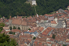 The city centre of Brashov. The birds-eye view of Brasov old town Royalty Free Stock Photography
