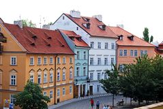 City centre buildings, Prague. Typical pastel coloured city centre buildings, Prague, Czech Republic, Eastern Europe Stock Image