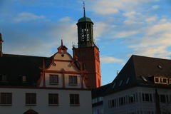 City centre in Darmstadt, Germany. The view of the city centre in Darmstadt, Germany with the tower and historical buildings Stock Photo